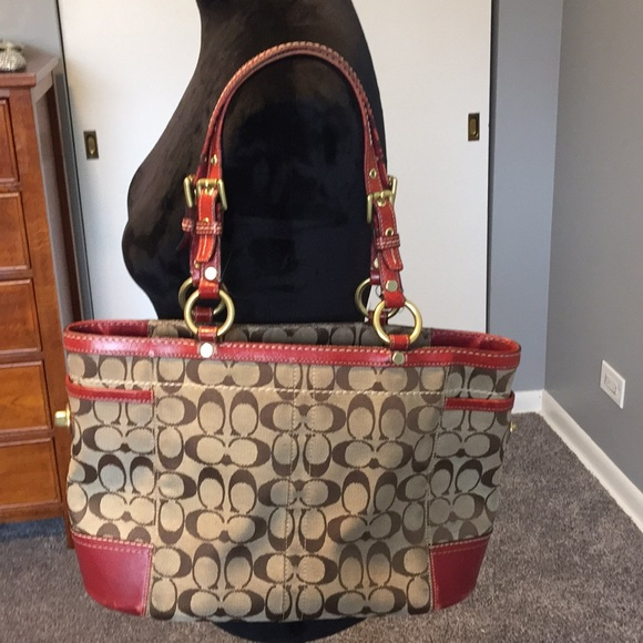 Coach Handbags - COACH GALLERY RED LEATHER LRG ZIP TOP TOTE